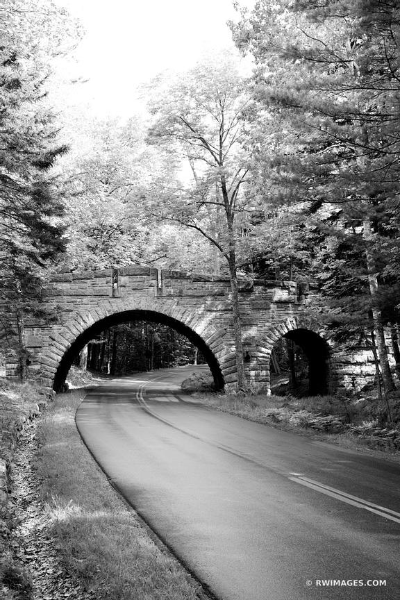 CARRIAGE ROAD BRIDGE ACADIA NATIONAL PARK MAINE BLACK AND WHITE