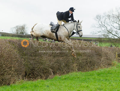 jumping a hedge at Barrowcliffe Farm