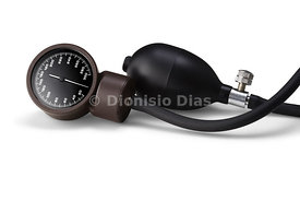 Display detail of a sphygmomanometer on white background