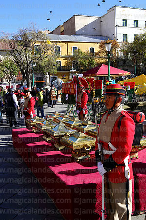 Members of the Los Colorados regiment guard caskets with the remains of members of the Junta Tuitiva in Plaza Murillo during events to commemorate the uprising of July 16th 1809, La Paz, Bolivia