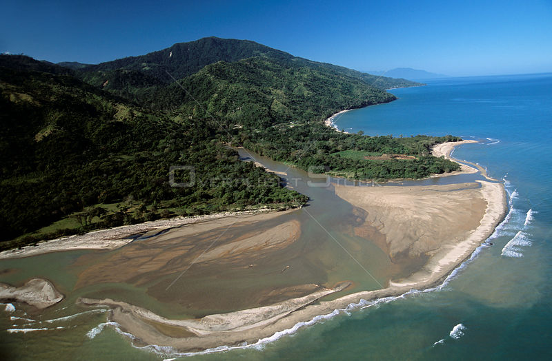 Aerial view of Rio Esteban estuary, Caribbean coast, Honduras, Central Americca, Atlantic coast 2006