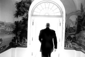 President William Clinton exits the White House.