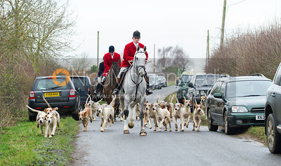 Robert Medcalf and the Cottesmore hounds leave the meet