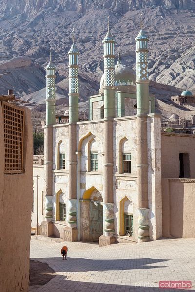 Islamic minaret in the village of Toyuq, Xinjiang, China