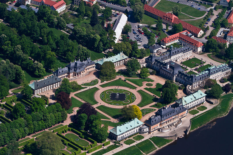 Aerial view of Pillnitz Castle, Saxony, Germany,