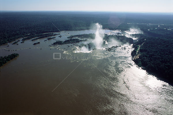 Aerial view of Iguazu falls & tropical rainforest, Argentina / Brazil