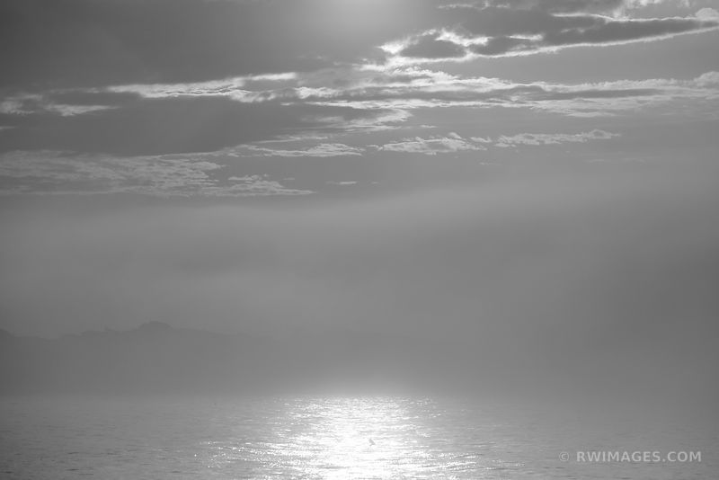 FOGGY SUNSET CAPE ANN MASSACHUSETTS BLACK AND WHITE