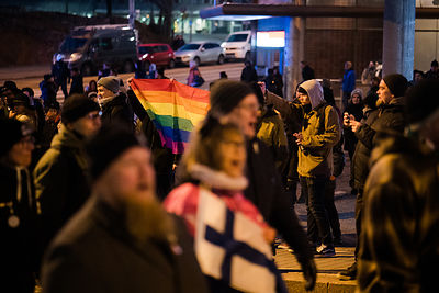 The Nordic Resistance Movement is against LGBT rights. The district of Kallio the march went through is not.