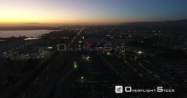 Oakland Oracle Arena and Cityscape at Night.