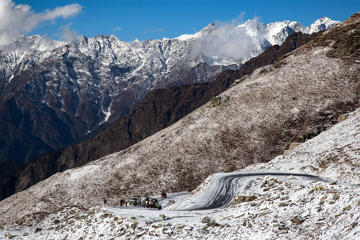 Icy road near the summit of Rohtang Pass, Manali, India