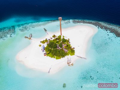 Aerial view of a desert island, Maldives