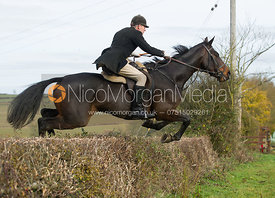 John Knowles jumping a hedge at Town Farm