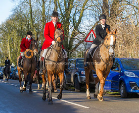 Joss Hanbury leads followers to the meet at the Carington Arms, Ashby Folville