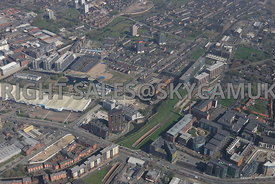 Old Mill Street and the Junction of the Ashton Canal turning into the New Islington Marina Manchester