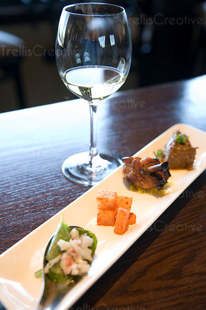 Food and wine pairing at a winery bar