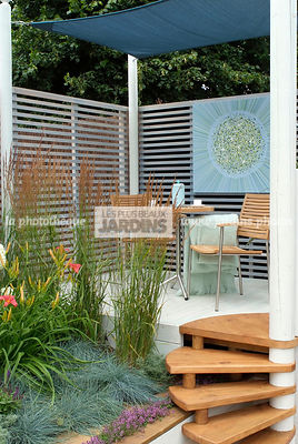 Garden chair, garden designer, Garden furniture, Garden table, Perennial, Pergola, Stair, Terrace, tight cloth, Trellis, Contemporary Terrace, Digital, Grasses