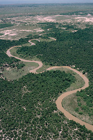 Aerial view of Rwindi river through Virunga NP, showing recent deforestation, Democratic Republic of Congo, formerly Zaire