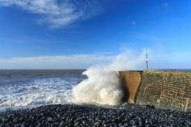 High tide, Aberaeron south beach