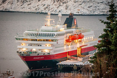 "Norway Post and tourist ship ""Richard With"" docked in Honningsvåg in Winter"