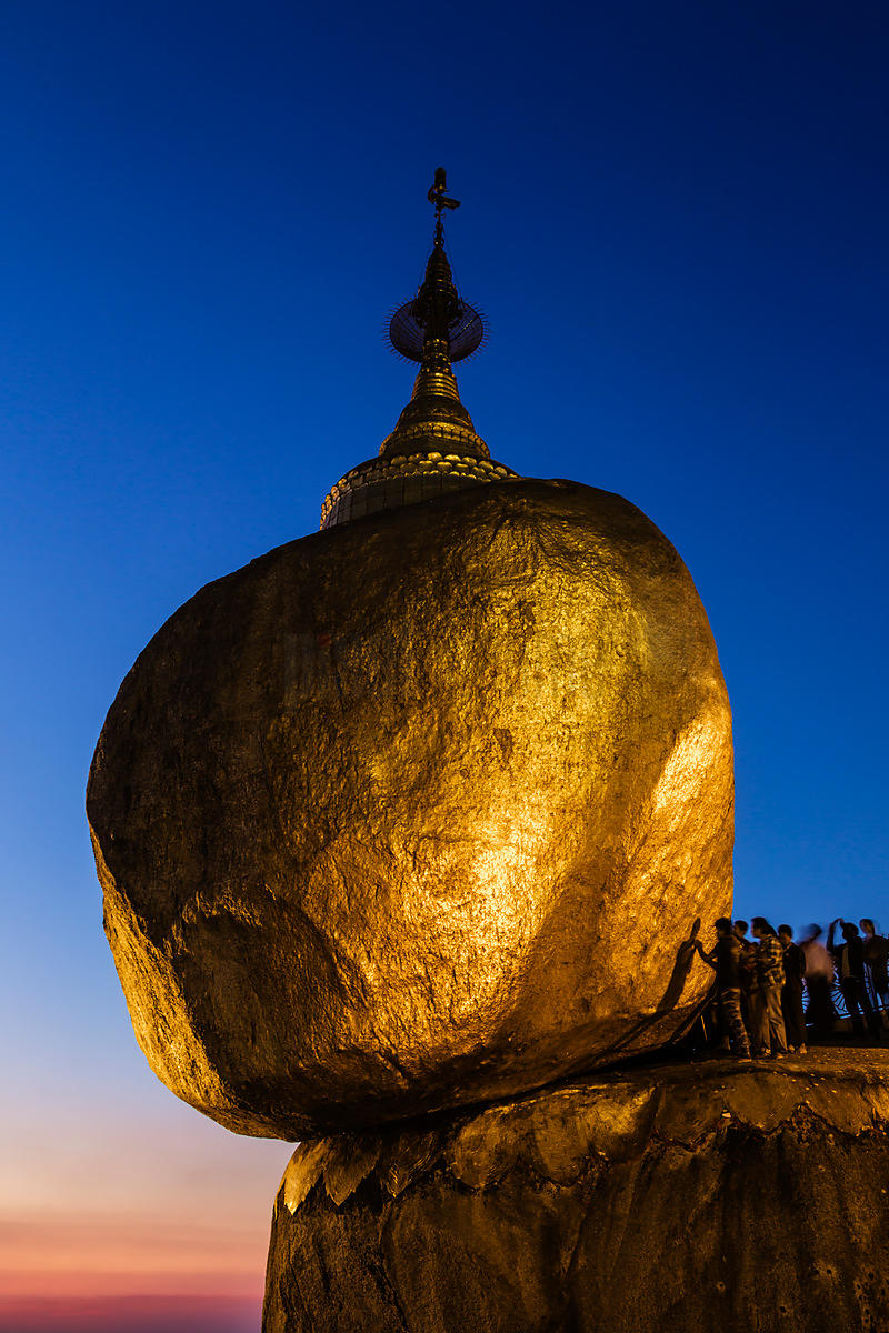 Pilgrims at the Golden Rock (Kyaiktiyo Pagoda) at Dusk