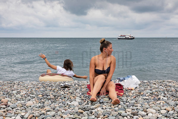 Sun Bathers at the Beach at Batumi