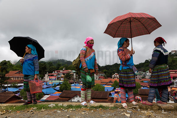 Women from The Flower Hmong Tribe at the Bac Ha Market