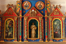 Figures and scenes of life of San Ignacio on painted wooden altar inside Jesuit Mission church, San Ignacio de Moxos, Beni, B...