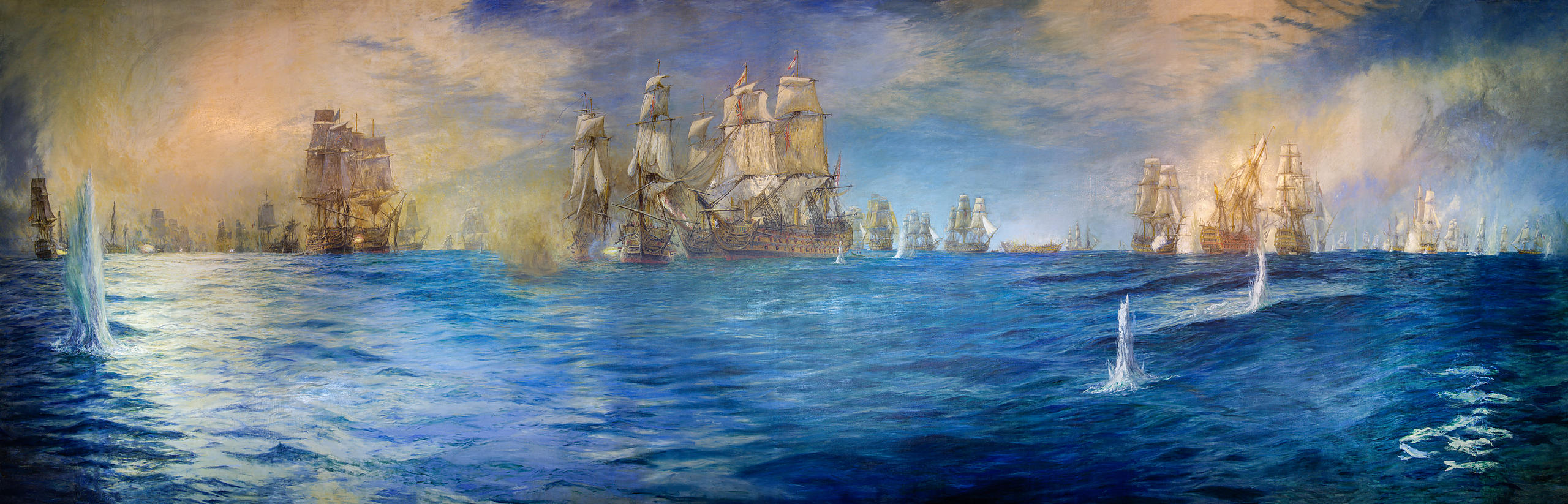 The Wyllie Painting of the Battle of Trafalgar in The Victory Gallery at the Portsmouth Historic Dockyard