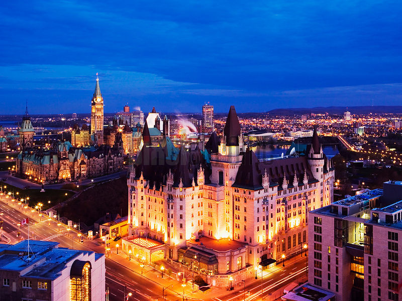 Chateau Laurier and Parliament Buildings, Ottawa, Ontario, Canada
