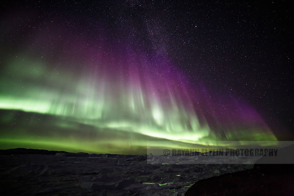 Green and purple Aurora above the UNESCO Ilulissat Icefjord