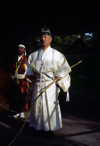 Japan - Kyoto - Murata Takeshi and Fujita Takehiro in traditional Kyudo costume