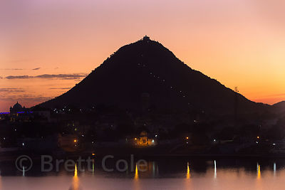 Savitri Temple and Pushkar Lake at sunsetg, Pushkar, Rajasthan, India
