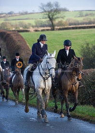 Liz Foster and Simon Grieve - Cottesmore Hunt at Deane Bank Farm 4/12/12