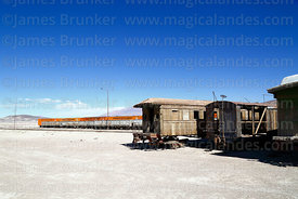 Abandoned old wooden passenger coaches outside Avaroa station, Nor Lípez Province, Bolivia