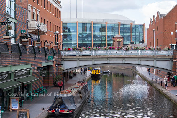 Arena Birmingham venue and the Canals at Brindleyplace, Birmingham, England