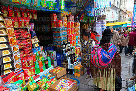Shop selling paneton and drinks in street market, La Paz, Bolivia