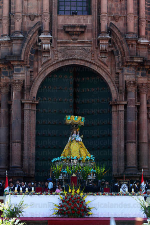Figure of Virgen de Belen outside cathedral , Corpus Christi festival , Plaza de Armas , Cusco , Peru