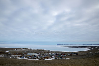View of Resolute Bay with pack ice in the background, Corwallis Island, Nunavut, Canada, June 2012.
