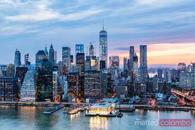 Aerial of World Trade center and Manhattan  at dusk, New York, USA