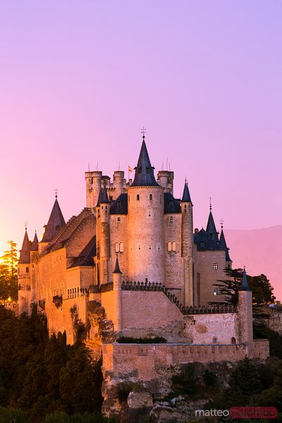 The fairy castle or Alcazar of Segovia at dusk, Spain