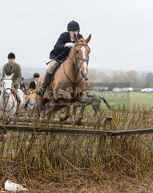 Fiona Applewhite jumping a hedge near Pasture Lane