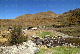 Small farming community and stream, Tunari National Park, Bolivia