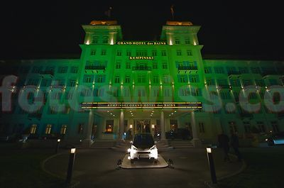 Kempinski Grand Hotel des Bains at night with lightshow