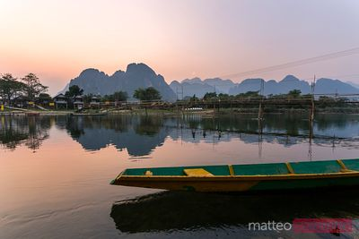 Sunset over Nam Song river, Vang Vieng, Laos