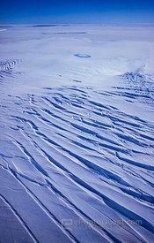 Aerial View of Snow Covered Crevasses