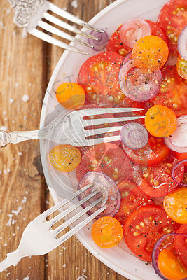Tomato and Onion Salad with forks