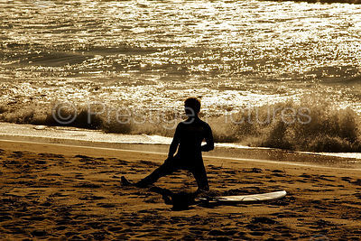 Surfer Limbers up on Manly Beach