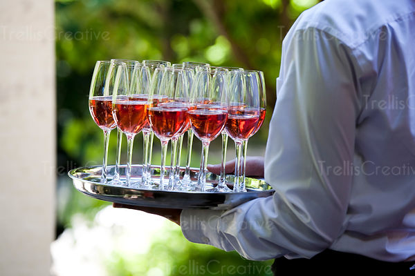 Sparkling rose welcomes guests at a wedding reception