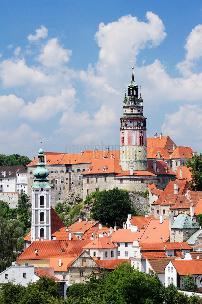 Elevated View of Cesky Krumlov Castle and the Round Tower