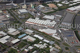 Manchester aerial photograph of Europa Way and John Gilbert Way and Wharfside Way Trafford Park Industrial Estate